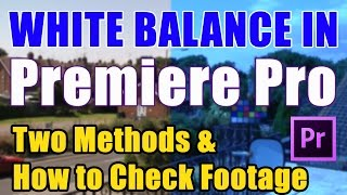 White Balance in Premiere Pro CS6 or CC - Tutorial Two Methods Compared and How to Check Footage