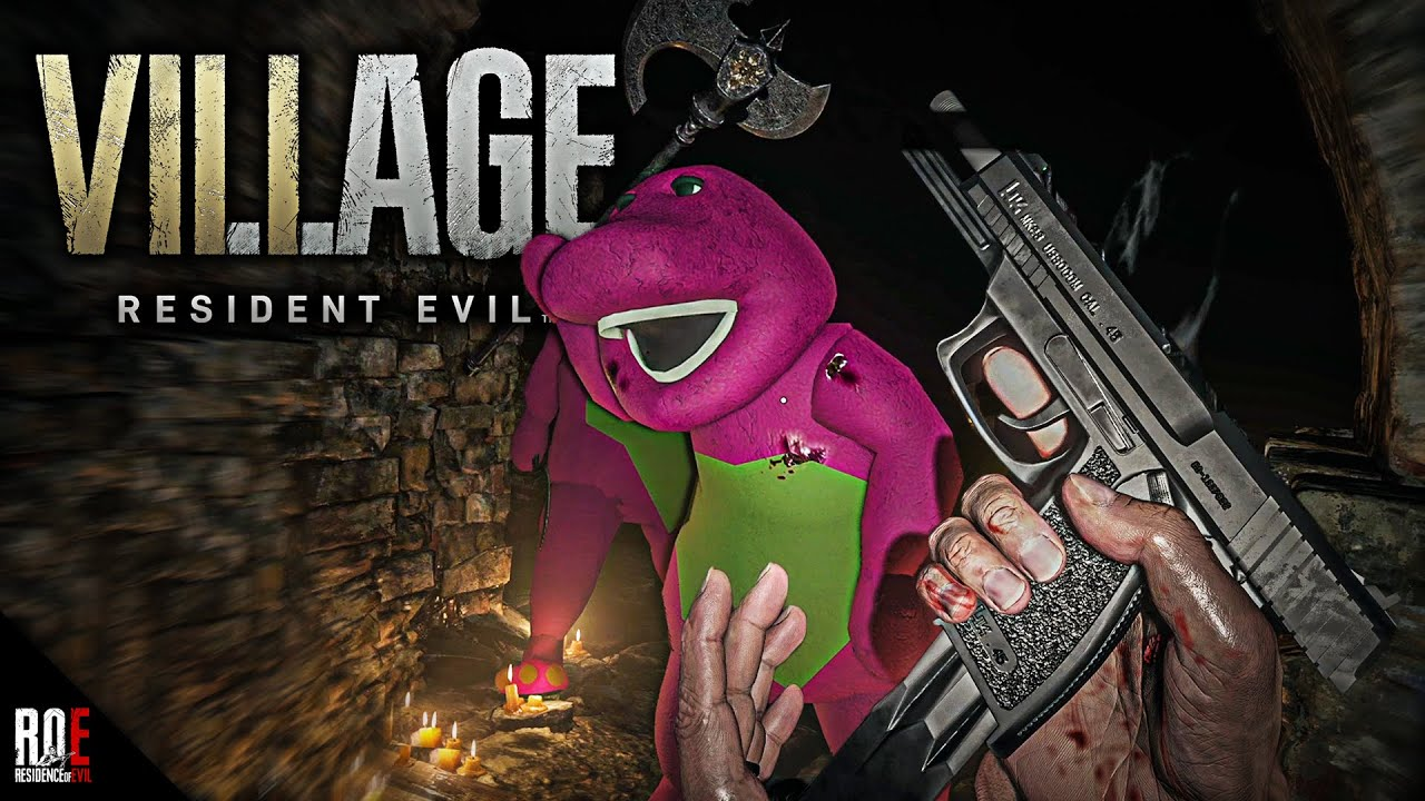 RESIDENT EVIL 8: VILLAGE   Barney The Dinosaur Enemies   RE4 Merchant & NEW  Weapons (MODS)