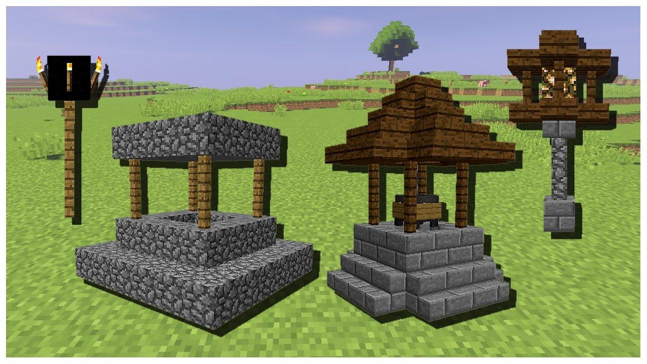 amliorer le puits lampadaires rcoltes et chemins dun village pnj minecraft - Lampadaire Minecraft