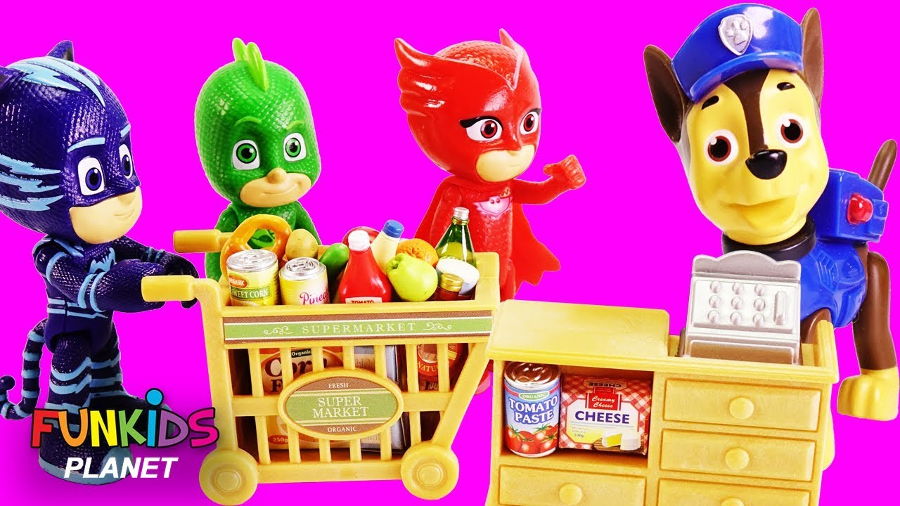 Pj Masks Goes Shopping With Puppy Dog Pals Amp Paw Patrol