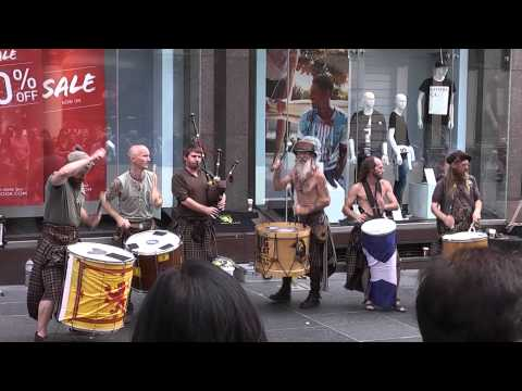 Bagpipes & drums on Buchanan Street Glasgow Scotland 2014 Caledonian drummers