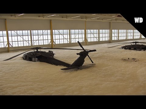 US Black Hawk Helicopters Covered In Fire Drill Foam