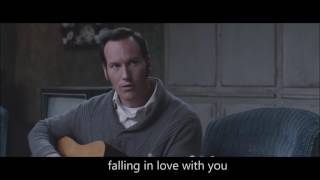 Patrick wilson (as ed warren) sings can't help falling in love with you the conjuring 2. i this scene so made a quick video of it.
