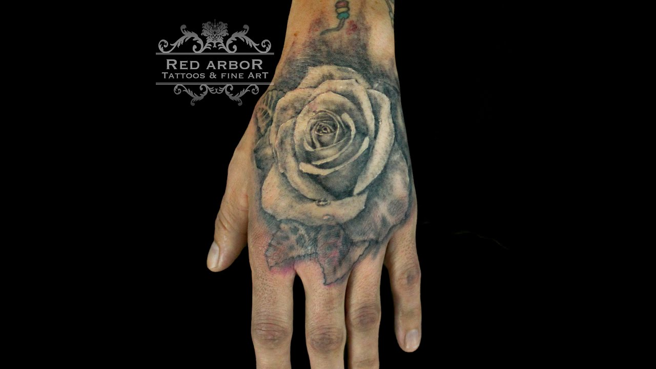 b57951bae Rose Tattoo on hand timelapse - YouTube
