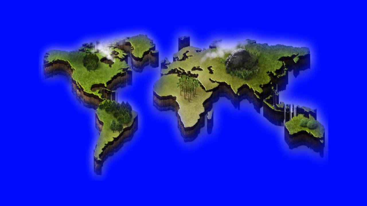 3d world map in blue screen free stock footage YouTube