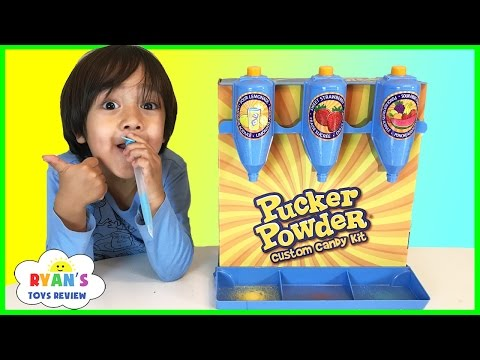 PUCKER POWDER Custom Candy Kit! Sweet and Sour Kids Candy Review! Ryan ToysReview