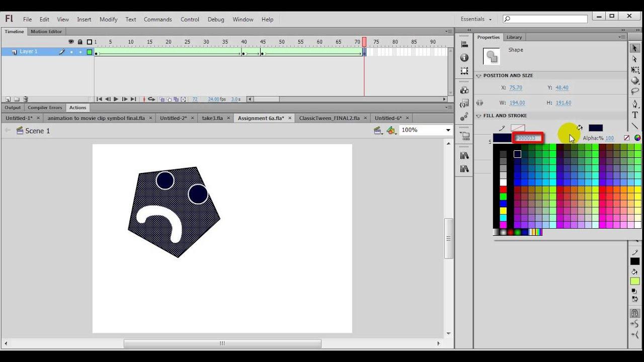cv tutorials flash cs6 tutorial  3 creating animation using shape tween
