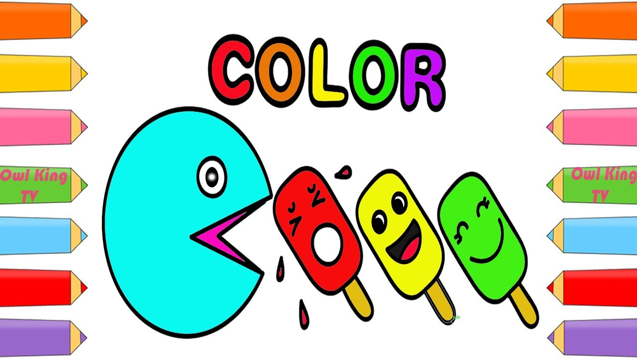how to draw pacman ice cream learning colors coloring pages art color for kids w owl king tv