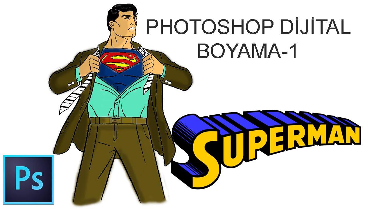 Photoshop Dijital Boyama 1 Gölgeler Superman Photoshop Digital