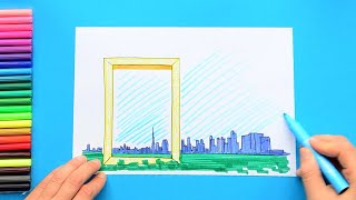 How to draw and color Dubai Frame, United Arab Emirates