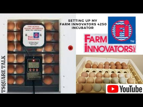 FARM INNOVATORS MODEL 4250. Setting up are our circulated air incubator with automatic egg turner.