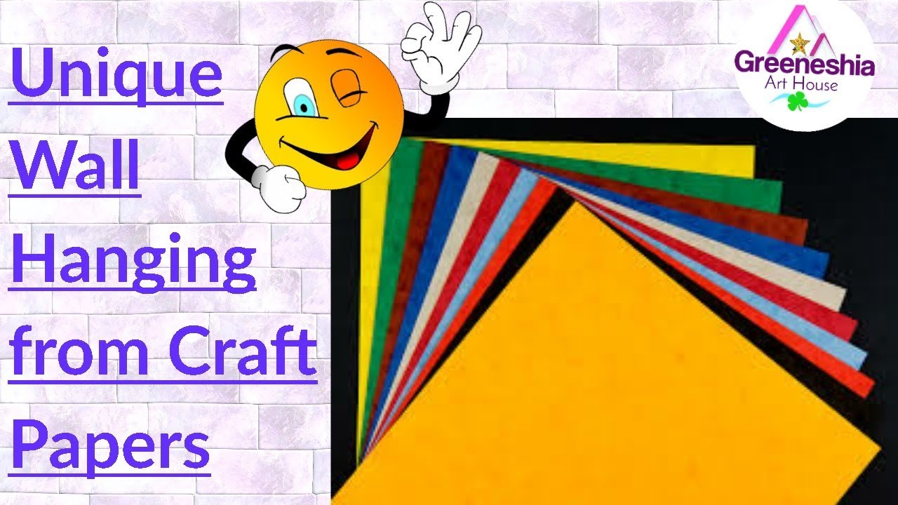 Color paper wall hanging | Wall hanging craft ideas | Craft paper ...