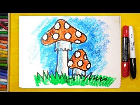 Как нарисовать грибы карандашом поэтапно для начинающих детей