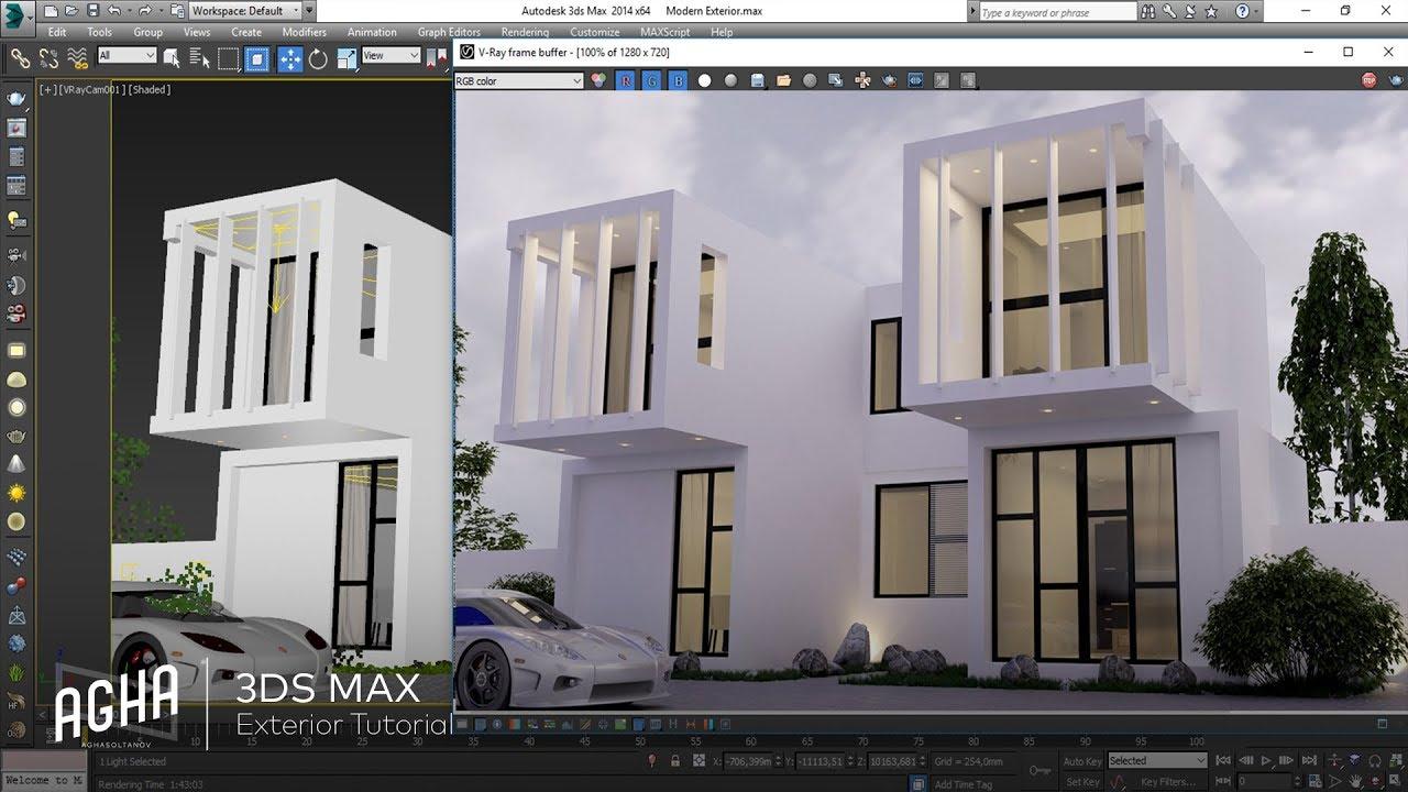 3ds max modern exterior design vray modeling light for Exterior 3ds max model