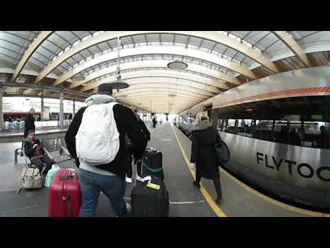 Our First Steps Out of Oslo Airport- Taking the Train to Oslo Citycenter - In 360