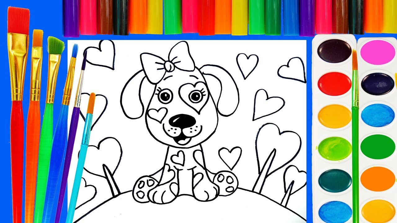dog coloring page for kids to learn to paint and color youtube