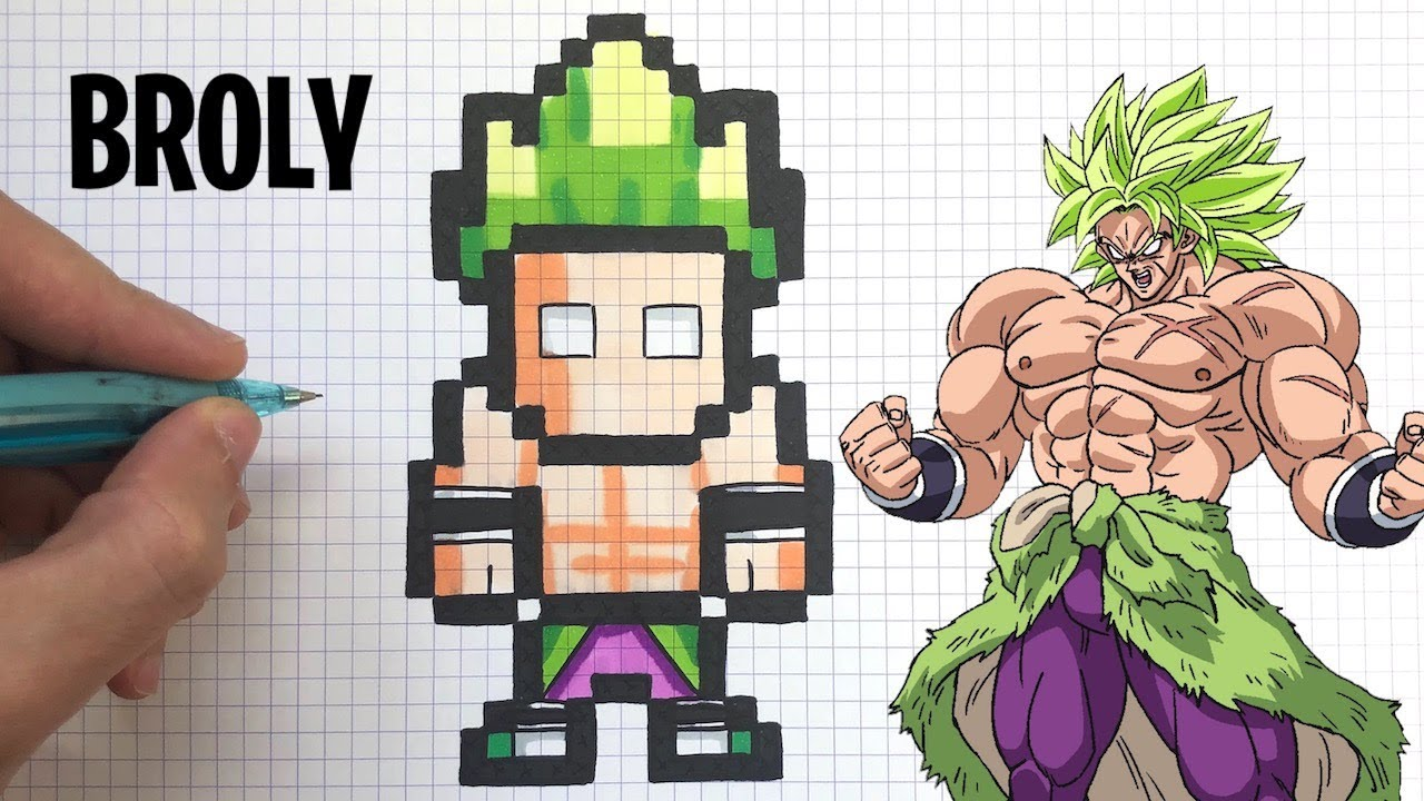 Como Dibujar Broly Dragon Ball Super Pixel Art