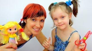 Игры для девочек. Кукла в парикмахерской.