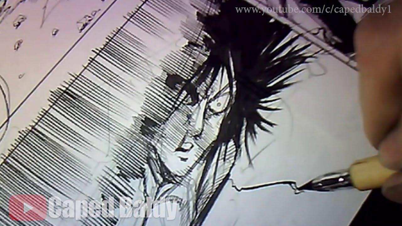 Yusuke Murata working on OPM manga page - Time Lapse