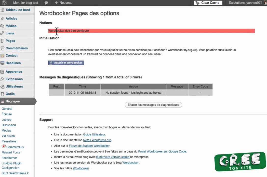 Le plugin facebook pour vous permettre de publier de votre site sur votre mur facebook