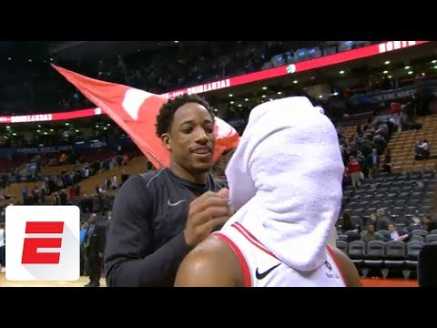 DeMar DeRozan CRASHES Kyle Lowry's Interview (VIDEO)