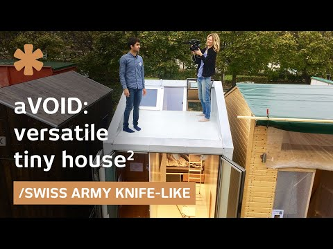 Tiny home deploys rooms and furniture from walls as required