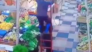 GUY TRIES TO HOLD LADDER BUT FAILS MISERABLY