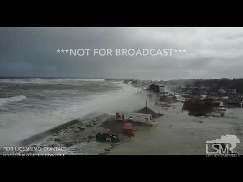 3-3-2018 Scituate, Ma Drone video of massive waves and flooding of homes