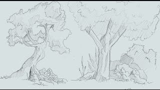 1 how to draw trees and bushes comic book style