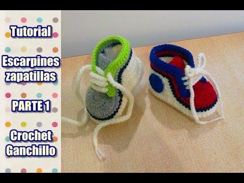 DIY Como tejer escarpines, zapatitos, zapatillas, patucos para bebe a crochet, ganchillo (1/2)