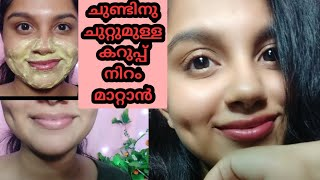 How To Remove Darkness around Mouth &amp Nose Naturally at Home   Effective DIY  Malayalam