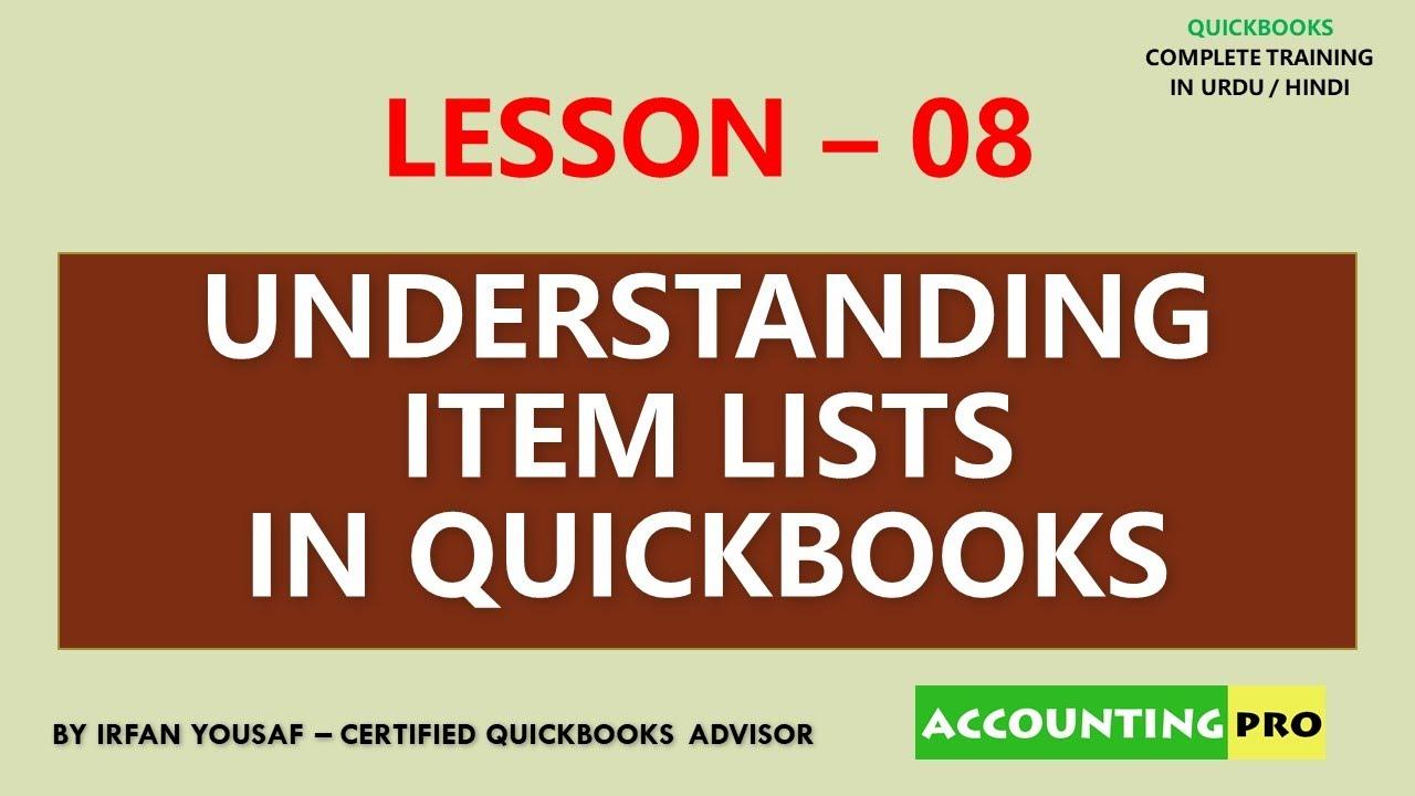 008 - Understanding Item List - QuickBooks Tutorial in Urdu/Hindi