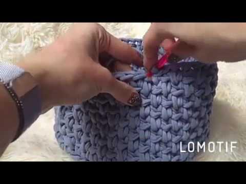 Узор крючком из ленточной пряжи
