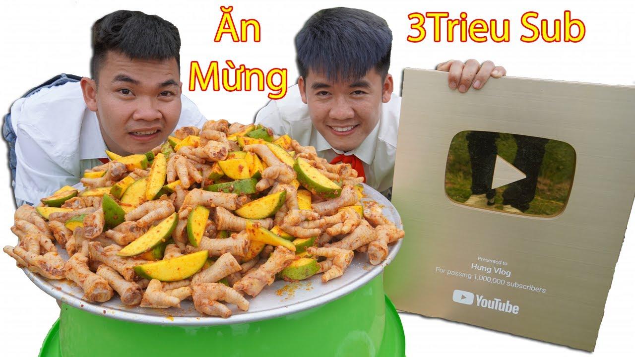 Hưng Vlog - Làm Mâm Chân Gà Trộn Xoài Siêu Cay Khổng Lồ Ăn Mừng Kênh 3 Triệu Subscribe
