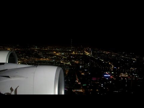 Airbus A380 Emirates Take-off at Night in Dubai Flight EK302 to Shanghai