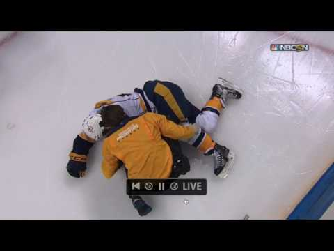 KEVIN FIALA FALLS AGAINST THE BOARD, INJURED AND STRETCHERED OFF THE ICE | April 26 2017