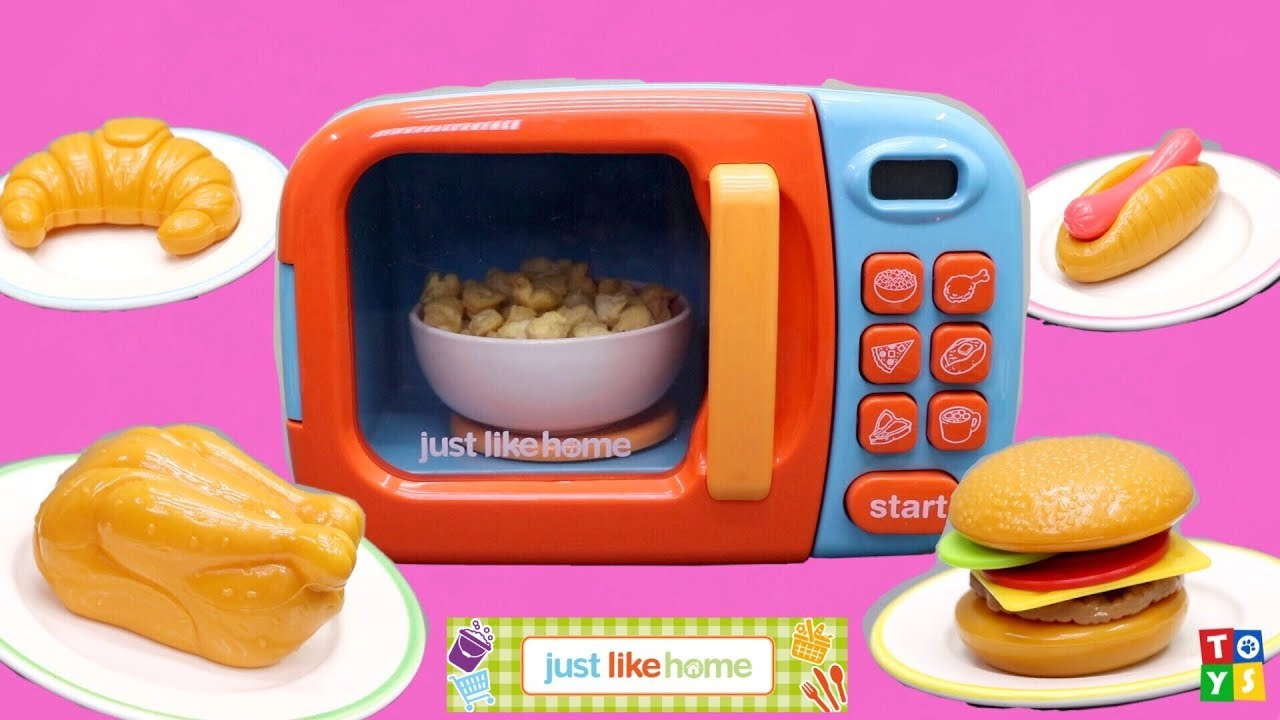 Just Like Home Toy Food : Unboxing and playing heating real food in a toy microwave