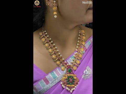 Latest Gold Coin Necklace Designs With Price RS=1110