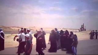 The new Suez Canal, Egypt: Citizens Ergdon and singing with joy  visit them channel