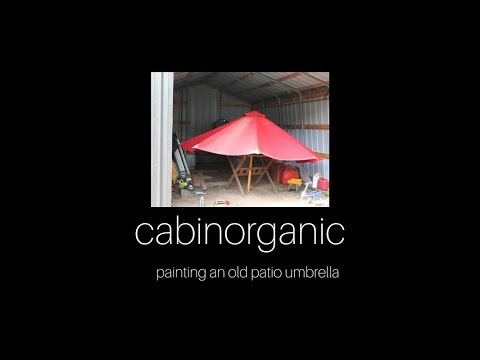 Painting an old patio umbrella