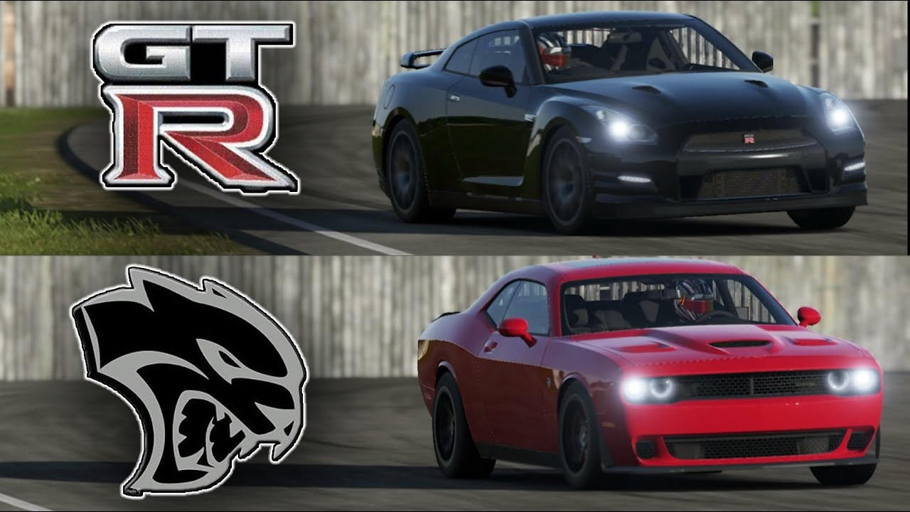 Dodge Challenger Hellcat Vs Nissan Gt R Top Gear Track