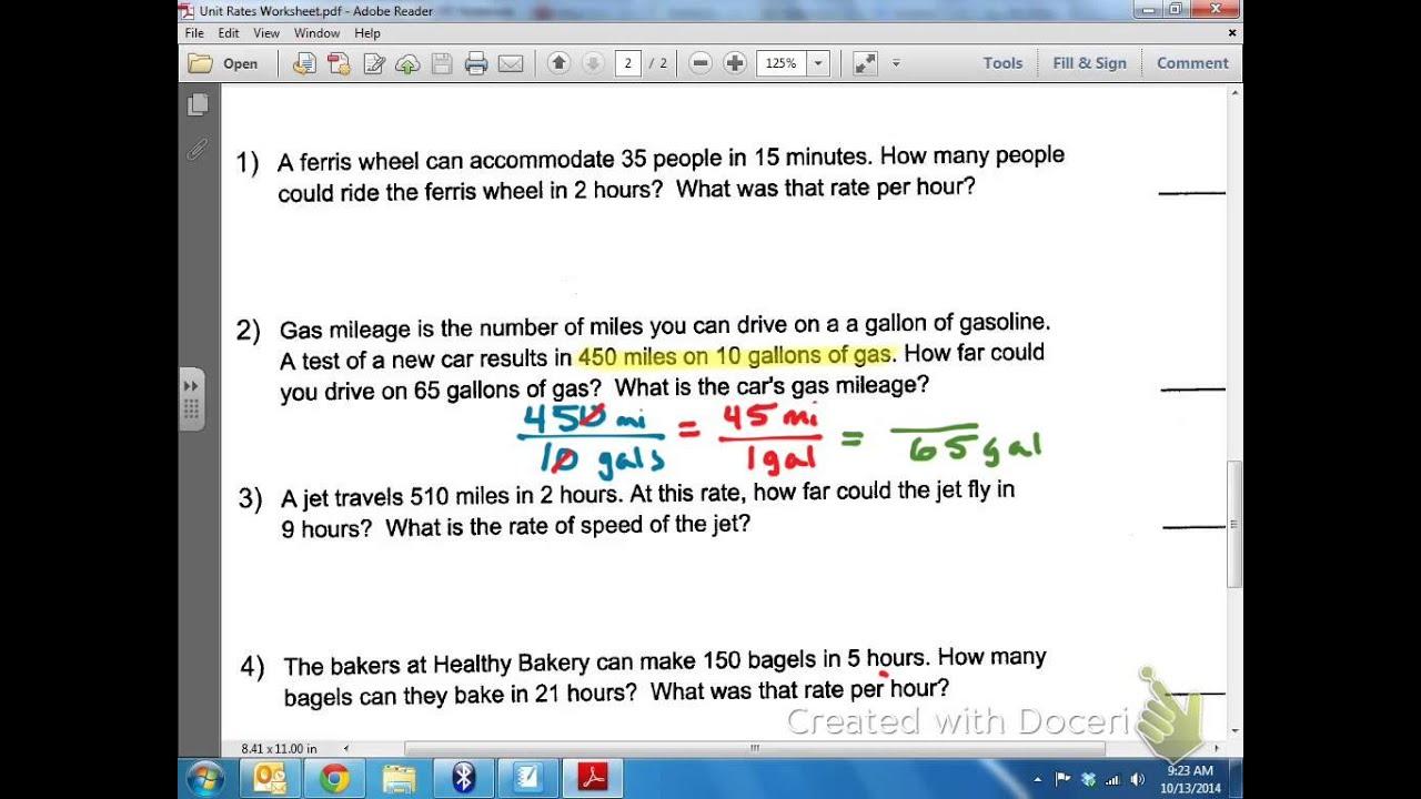 Common Core Math Unit Rates Miles Per Gallon