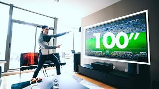 "THE 100"" 4K LASER TV SETUP!"