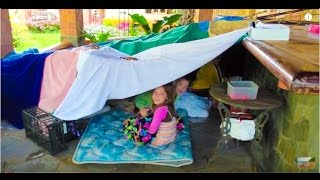 Dennings kids make a tent (+ our baby is staring contest QUEEN!)