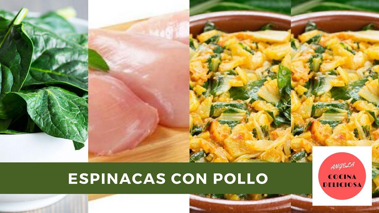 Cómo 👩🍳 hacer POLLO con ESPINACAS🍗   #angelacocinadeliciosa