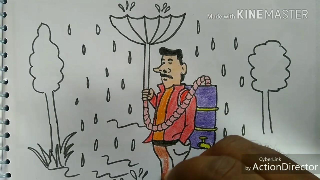 Save Rain Water |Save Water | Rain Water Harvesting | Rain water harvesting  drawing for kids!