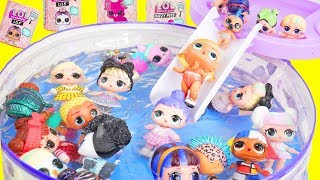 LOL Surprise Dolls Pool Party Mix Up with Lil Sister Fuzzy Pets | Toy Egg Videos