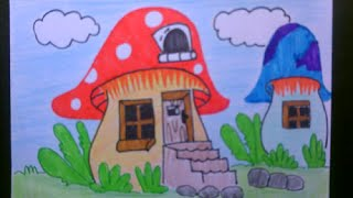 Drawing and coloring smurf houses for kids (speed drawing)