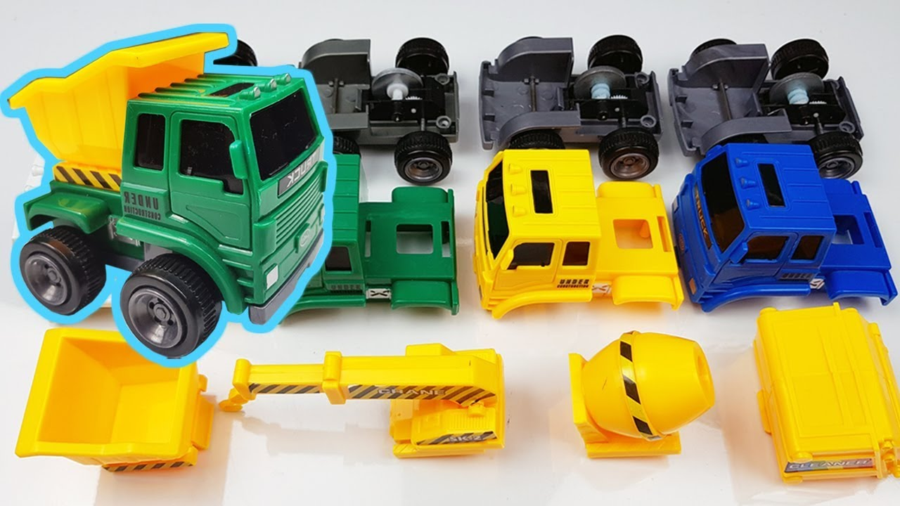Assembly Construction Vehicles toy & Dump, Crane, Mixer, Garbage Truck Go Go