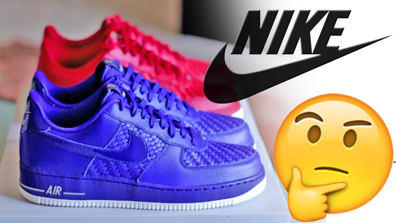 sale retailer 97c6c cd538 Nike Air Force 1  07 LV8 Woven - Gym Red   Blue